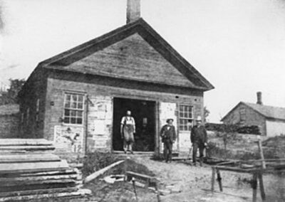 from yellow schoolhouse to Dan Scott's blacksmith Shop