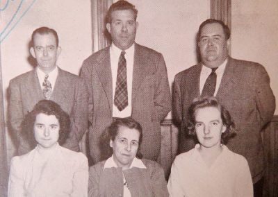 1948 1st row, l-r, Claire Kimmens, Evelyn Benway, Mary Alice Dines, 2nd row, Stanley Bond, Vernet Keller, Robert Fralick