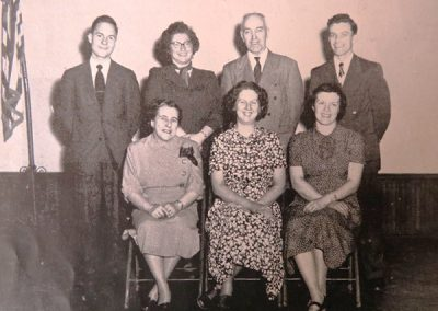 1952, 1st row l-r, Evelyn Benway, Margaret Knowlton, Ruth Burgess, 2nd row, Rodney Eldridge, Verna Goodwin, Phil Smith, John Smith